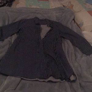 Zara girls navy blue and white stripped blouse